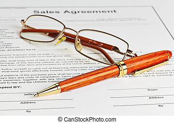 契約, ∥で∥, ガラス, そして, 木製である, ペン, 準備ができた, へ, ありなさい, 署名される