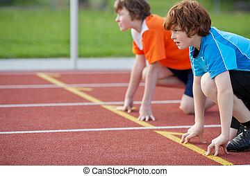 奔跑者, 上, 起動位置, 在, 跑道