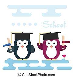 套間, 企鵝, 字符, 被風格化, 如, a, students.
