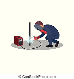 套間, 保護, work., 金屬工人, 面罩, works., 矢量, 設計, welds, 人, 專業人員, 建設, 銲接, 棍, 銲接, gloves.