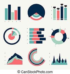 套間, 圖表, 矢量, graphs., design.