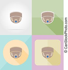 套間, 圖象, 照像機, 插圖, 監視, 矢量, 設計, 影像