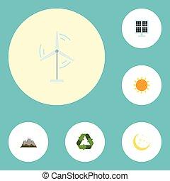 套間, 圖象, 陽光, 電, 米爾, 夜晚, 以及, 其他, 矢量, elements., 集合, ......的, 環境, 套間, 圖象, 符號, 也, 包括, 太陽, 米爾, 夜晚, objects.