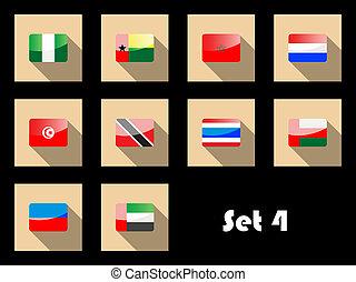 套間, 圖象, 集合, ......的, 國際旗