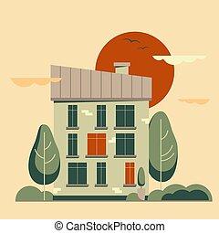 套間, 城市, 風景。, 矢量, 夏天, 卡通, 建筑物。
