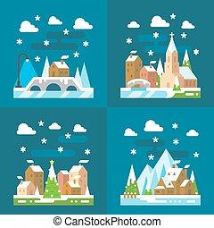套間, 多雪, 設計, 聖誕節, 村莊