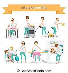 套間, 婦女, 集合, 插圖, housewife., 矢量, 卡通