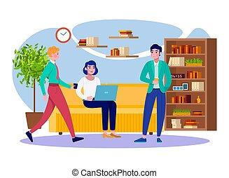 套間, 專業人員, 商人, 毀坏, colleages, 隊, 一起。, 咖啡, 婦女, 人們, 辦公室工作, 矢量, 放鬆, illustration., 年輕