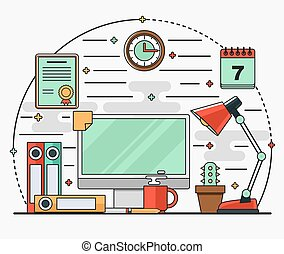 套間, 工作站, 線性, 杯子, 燈, 書桌, 內部, 日曆, 電腦, 文件, coffee.