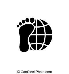 套間, 探險家, 大約, 矢量, 腳, 地球, world., 圖象