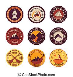 套間, 旅遊業, 露營, 徽章, 在戶外