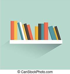 套間, 書, 架子, 矢量, 設計