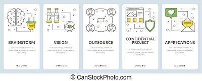 套間, 概念, 垂直, 項目, 矢量, 設計, 稀薄, 管理, 線, 旗幟