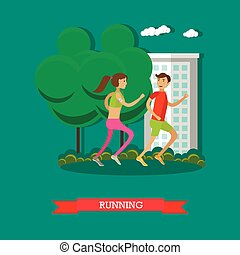 套間, 概念, 夫婦, 插圖, 卡通, 跑, 矢量, 健身, 運動, style., park.