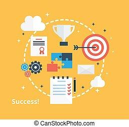 套間, 概念, 成功, 事務, 圖象,  -, 成就, 矢量, 設計, 靈感, 風格, 插圖