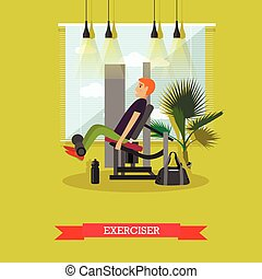 套間, 概念, 生活方式, 工作, gym., 健康, 插圖, 設備, 矢量, 健身, 運動, 在外, style., 人