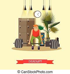 套間, 概念, 生活方式, 工作, gym., deadlift., 健康, 插圖, 設備, 矢量, 健身, 運動, 在外, style., 人