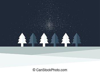 套間, 樹, 下雪薄片, land., 簡單地, 落下, 聖誕節, night., design.