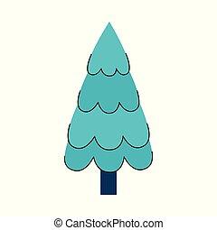 套間, 樹, 被風格化, 矢量, 聖誕節, 圖象