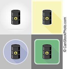 套間, 油, 圖象, 插圖, 矢量, 黑色, 桶