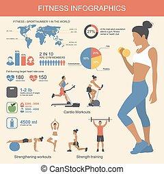 套間, 生活方式, elements., 健康, infographics, 插圖, 矢量, 健身, design.