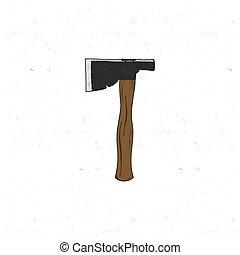 套間, 略述, 黑色半面畫像, axe., 葡萄酒, 旅行, 營房, 被隔离, 插圖, 手, 矢量, 背景, 畫, icon., design., 白色, 股票
