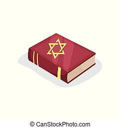 套間, 矢量, 圖象, ......的, 猶太, 祈禱書, ......的, 神聖, texts., 希伯來人的經典, 由于, david的星, 符號, 上, cover., 宗教, 文學