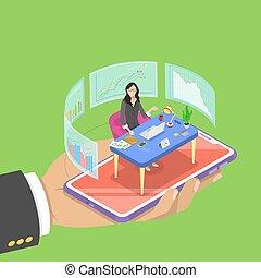 套間, 等量, 概念, assistant., 事務, 專家, 實際上, 矢量, 在網上
