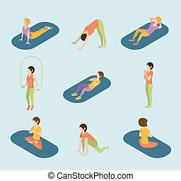 套間, 等量, 瑜伽, 网, 體操, 運動, infographic, 體操, vector., 婦女, 測驗, 練習, 3d