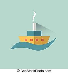 套間, 簽署, 矢量, 設計, 小船, 船