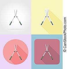套間, 花園, 圖象, 工具, 插圖, 矢量,  Secateurs