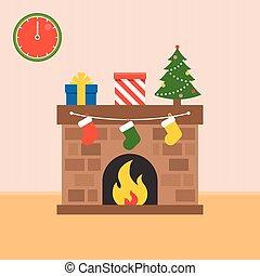 套間, 襪子, 樹, 箱子, 矢量, 設計, 裝飾, 壁爐, 聖誕節禮物