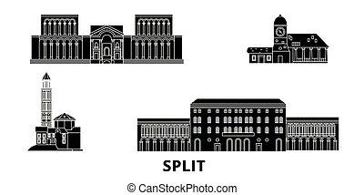 套間, 視域, 插圖, 旅行, landmarks., 符號, 地平線, 矢量, 城市, 分裂, 黑色, 克羅地亞, set.