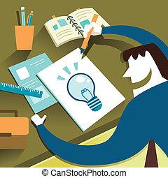 套間, 設計, 插圖, 概念, ......的, 創造性, 靈感
