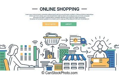 套間, 購物, 購買, 過程, 設計, 在網上, 線, 旗幟