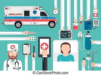 套間, 醫生, 汽車, 醫學, 在網上, 設計, 救護車, 電話