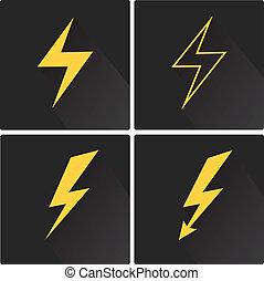 套間, 閃電螺栓, 矢量, 圖象, 集合, 上, 廣場
