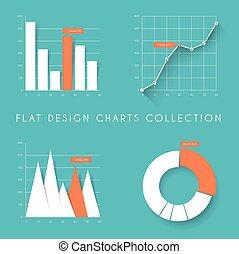 套間, 集合, 圖表, 圖, 矢量, 設計, 統計數字