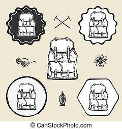 套間, 集合, 网, 背包, 葡萄酒, 簽署, 標識語, 標簽, 符號, 圖象