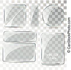套間, 集合, plates., 玻璃, glare.