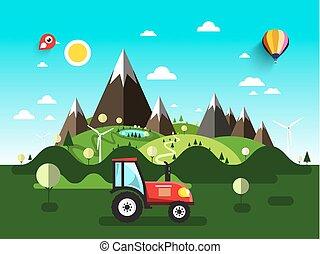 套間, 風景。, tractor., 領域, 矢量, 設計