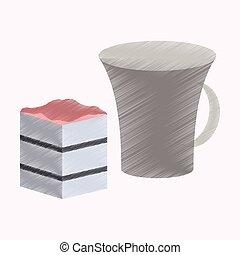 套間, 風格, 杯子, 餅, 咖啡, 發暗, 圖象