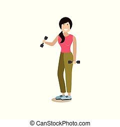 套間, 風格, 概念, 人們, 體操, 插圖, 矢量