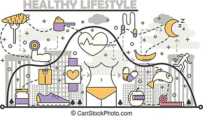 套間, 風格, 概念, 生活方式, 線性, 健康, 插圖, 矢量