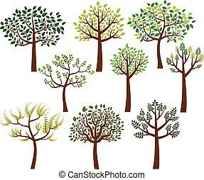 套間, 風格, 樹, 插圖, 被風格化, 黑色半面畫像, 矢量, 綠色