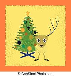 套間, 風格, 樹, 鹿, 發暗, 聖誕節, 圖象