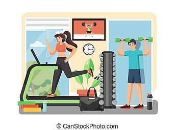 套間, 風格, 設計, 矢量, 插圖, 體操, 健身