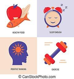 套間, 風格, 集合, 生活方式, 圖象, 健康, 概念