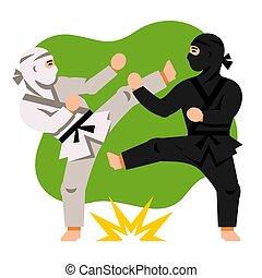 套間, 風格, illustration., 鮮艷, 戰鬥, 矢量, 黑色, 白色, ninja., 卡通