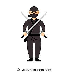 套間, 風格, illustration., 鮮艷, 矢量, ninja., 卡通